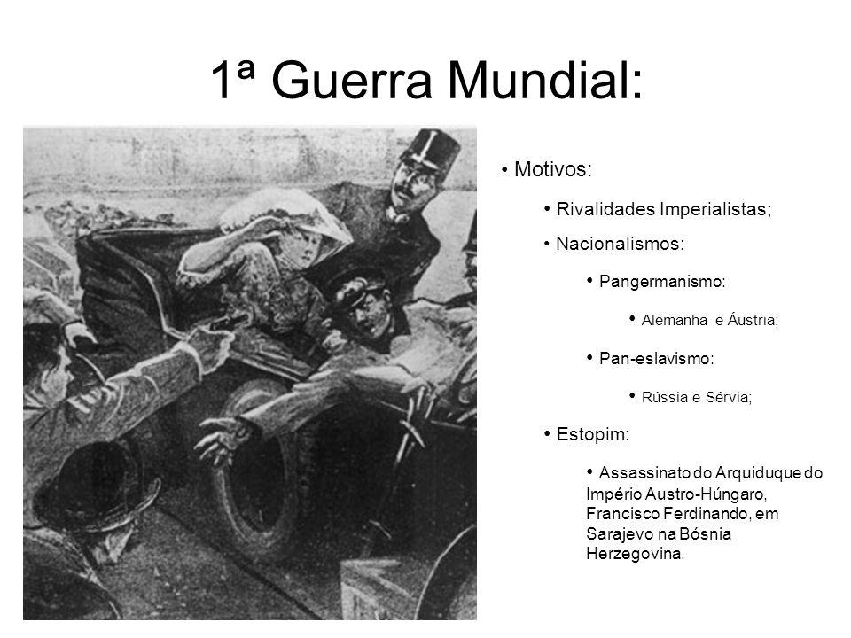1ª Guerra Mundial: Motivos: Rivalidades Imperialistas; Pangermanismo: