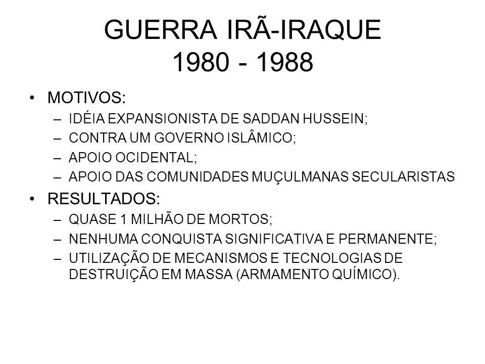 GUERRA IRÃ-IRAQUE 1980 - 1988 MOTIVOS: RESULTADOS: