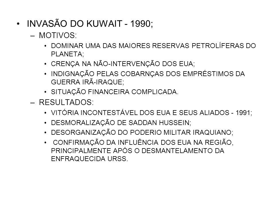 INVASÃO DO KUWAIT - 1990; MOTIVOS: RESULTADOS: