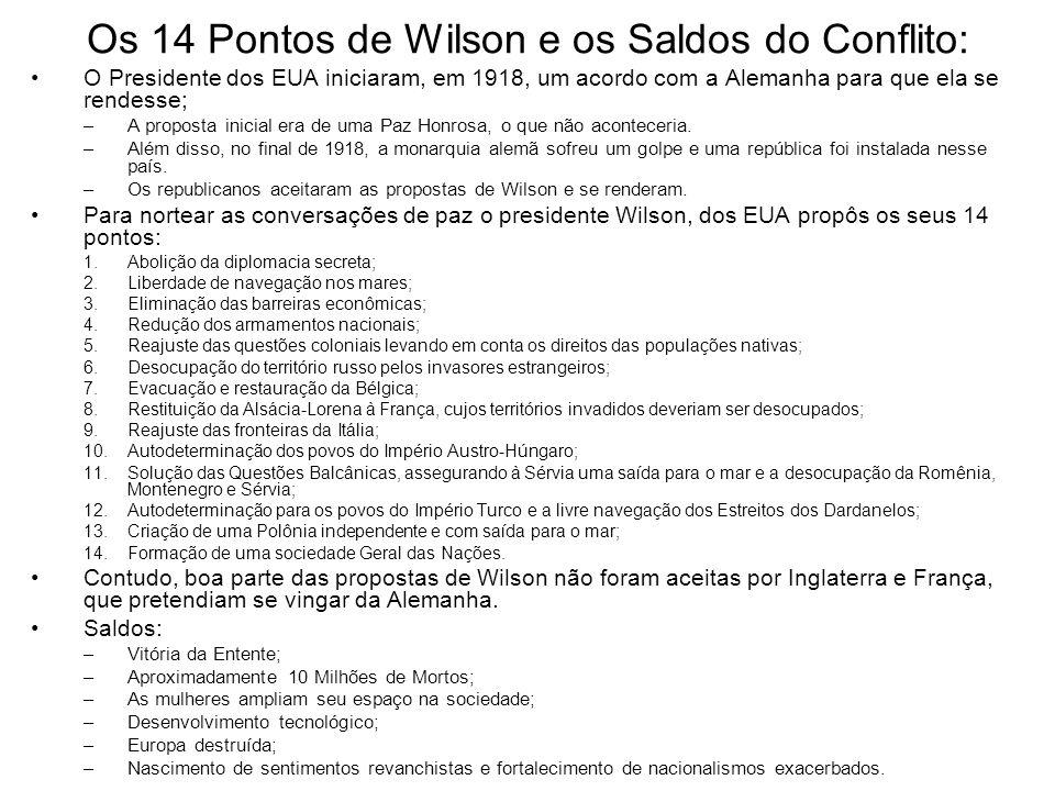 Os 14 Pontos de Wilson e os Saldos do Conflito: