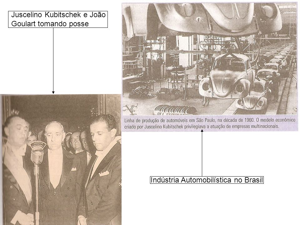 Juscelino Kubitschek e João Goulart tomando posse
