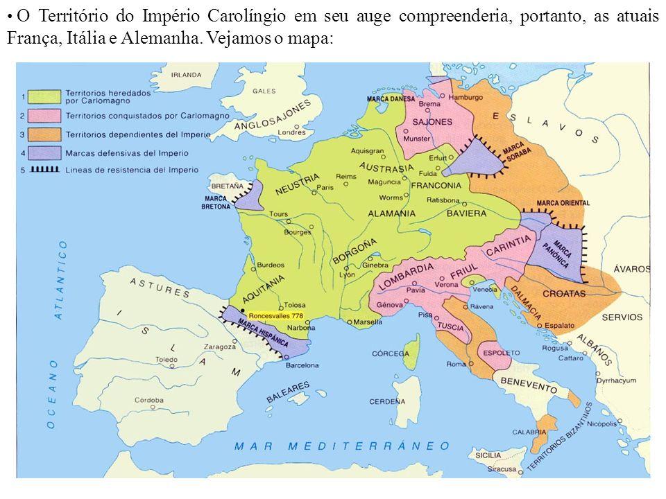 O Território do Império Carolíngio em seu auge compreenderia, portanto, as atuais França, Itália e Alemanha.