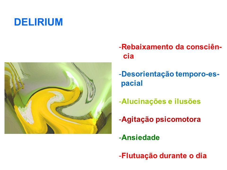 DELIRIUM Rebaixamento da consciên- cia Desorientação temporo-es-