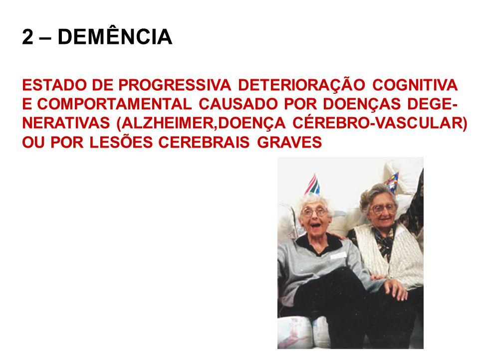 2 – DEMÊNCIA ESTADO DE PROGRESSIVA DETERIORAÇÃO COGNITIVA
