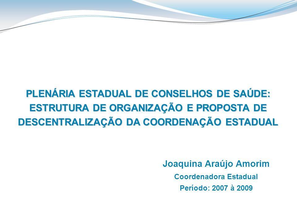 Joaquina Araújo Amorim Coordenadora Estadual