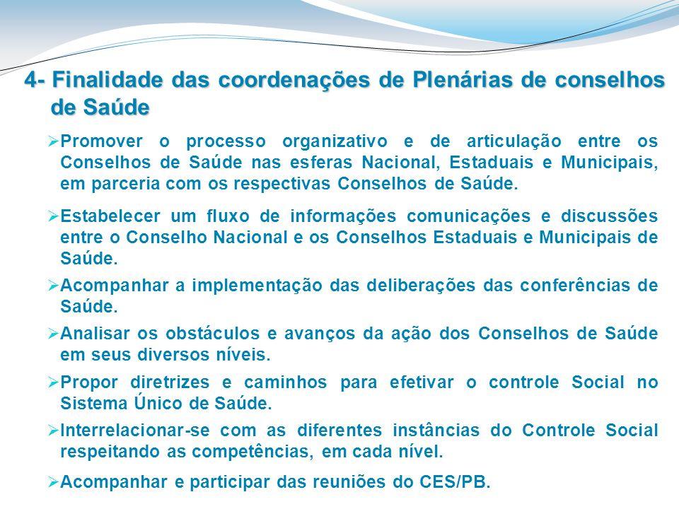4- Finalidade das coordenações de Plenárias de conselhos de Saúde