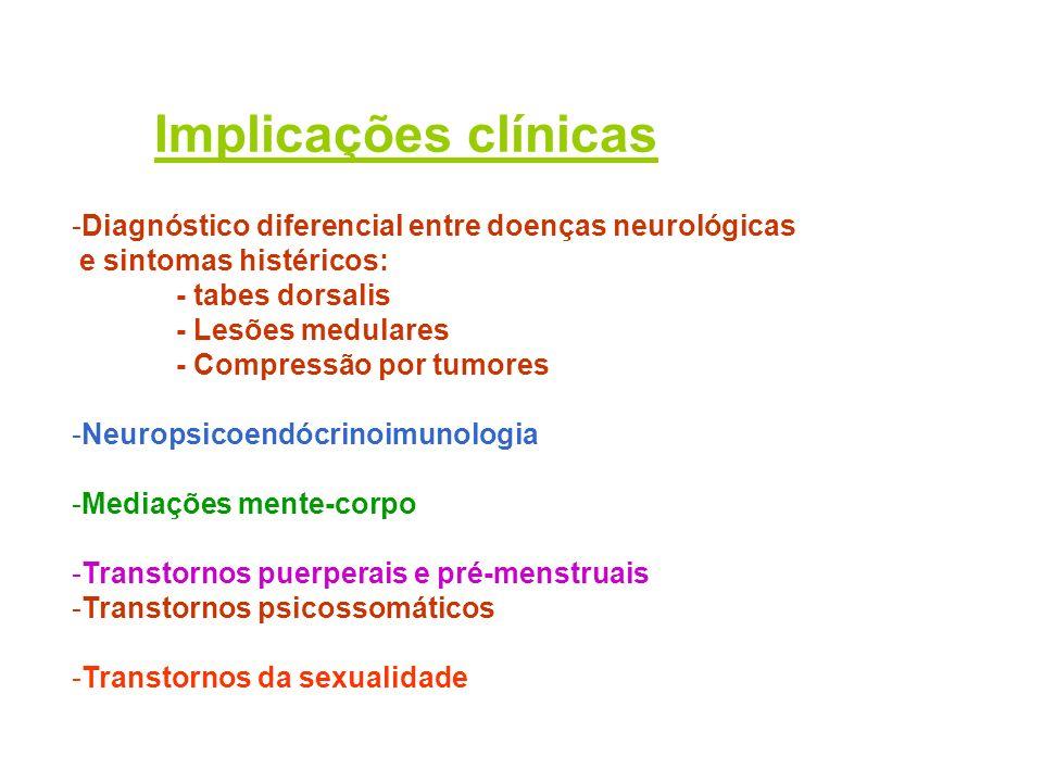 Implicações clínicas Diagnóstico diferencial entre doenças neurológicas. e sintomas histéricos: - tabes dorsalis.