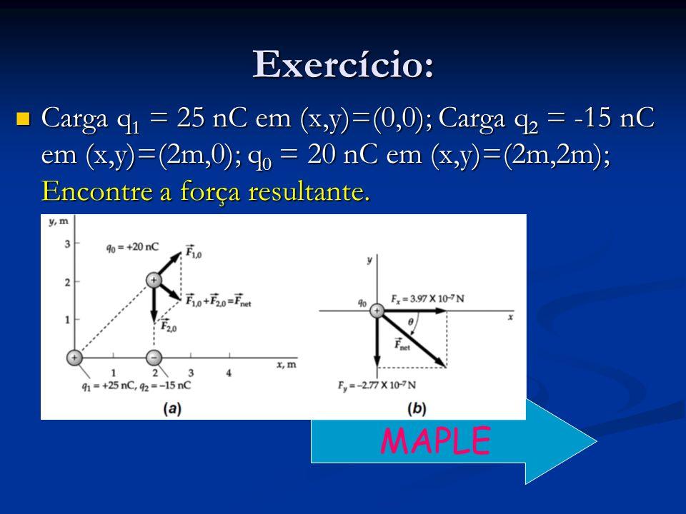 Exercício:Carga q1 = 25 nC em (x,y)=(0,0); Carga q2 = -15 nC em (x,y)=(2m,0); q0 = 20 nC em (x,y)=(2m,2m); Encontre a força resultante.