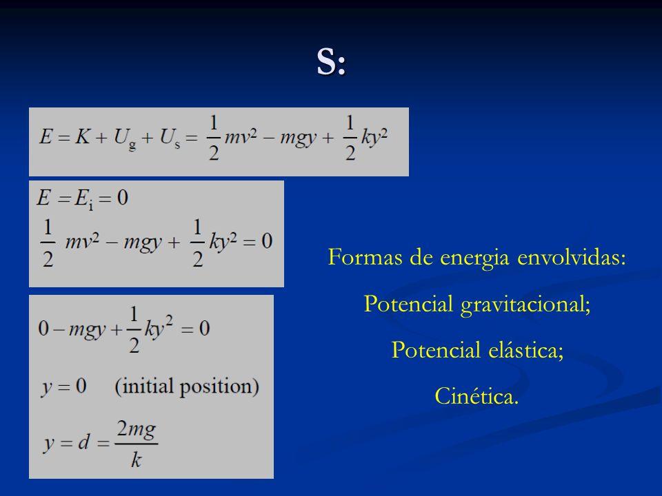 S: Formas de energia envolvidas: Potencial gravitacional;