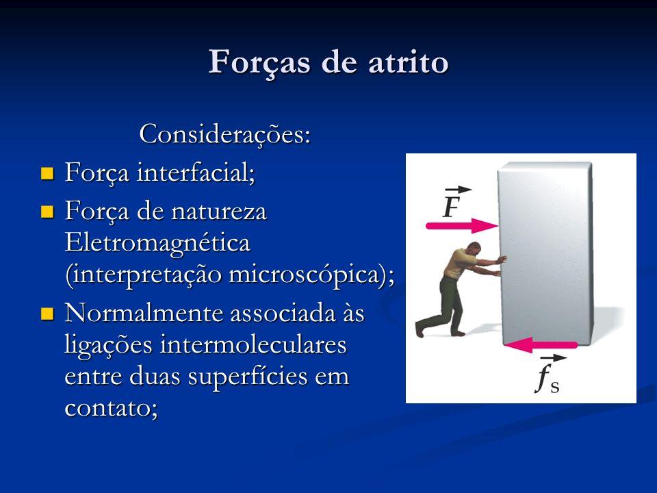 Forças de atrito Considerações: Força interfacial;