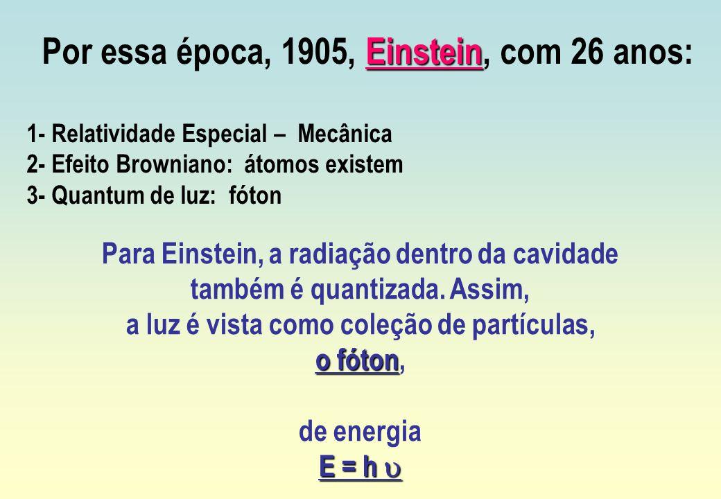 Por essa época, 1905, Einstein, com 26 anos: