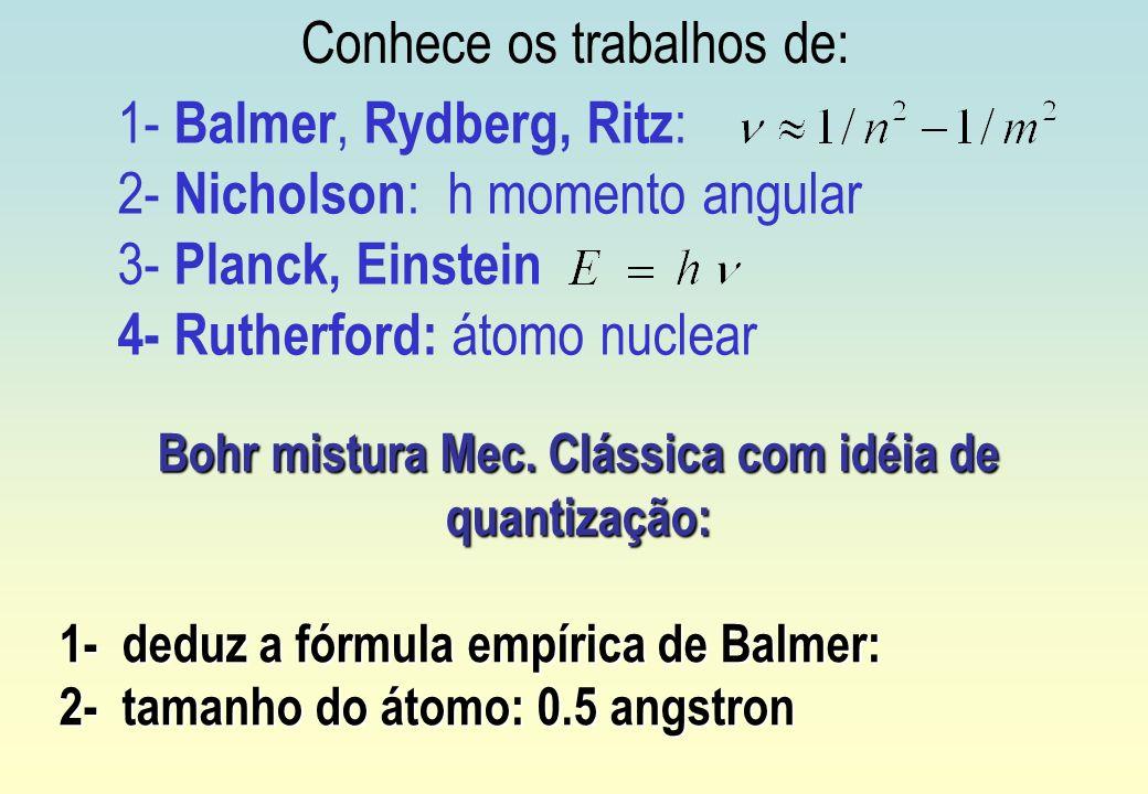 Bohr mistura Mec. Clássica com idéia de quantização: