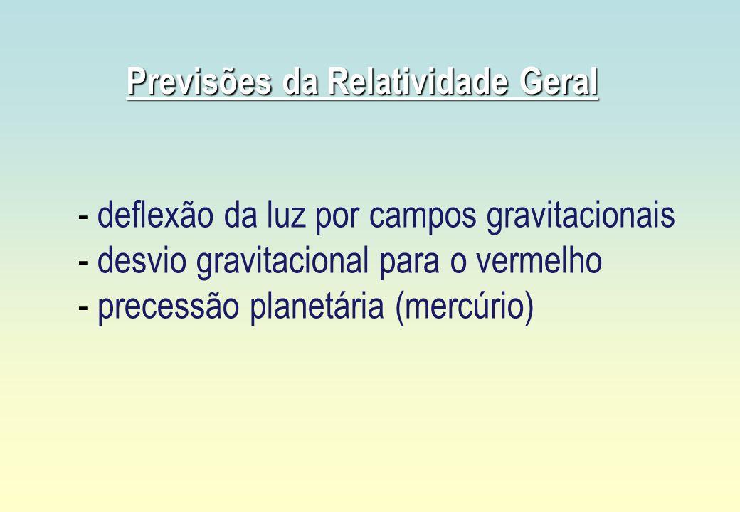 Previsões da Relatividade Geral