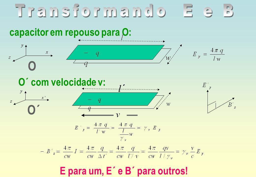 O O´ Transformando E e B capacitor em repouso para O: