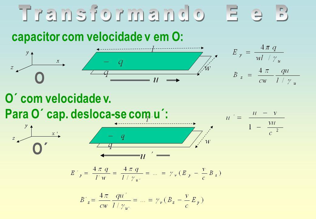 O O´ Transformando E e B capacitor com velocidade v em O: