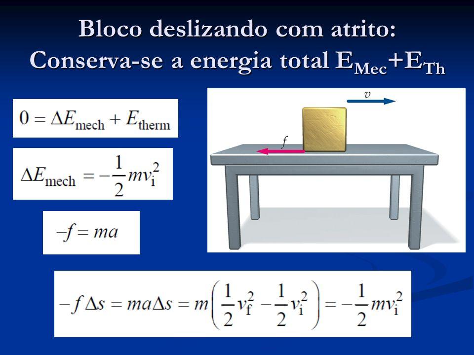 Bloco deslizando com atrito: Conserva-se a energia total EMec+ETh