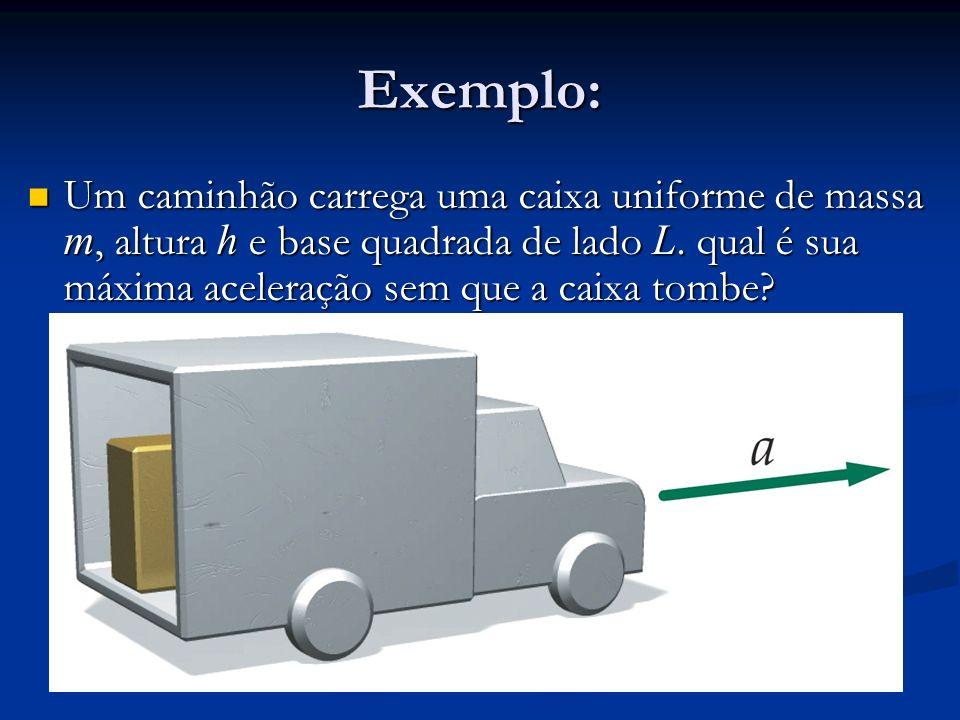Exemplo: Um caminhão carrega uma caixa uniforme de massa m, altura h e base quadrada de lado L.