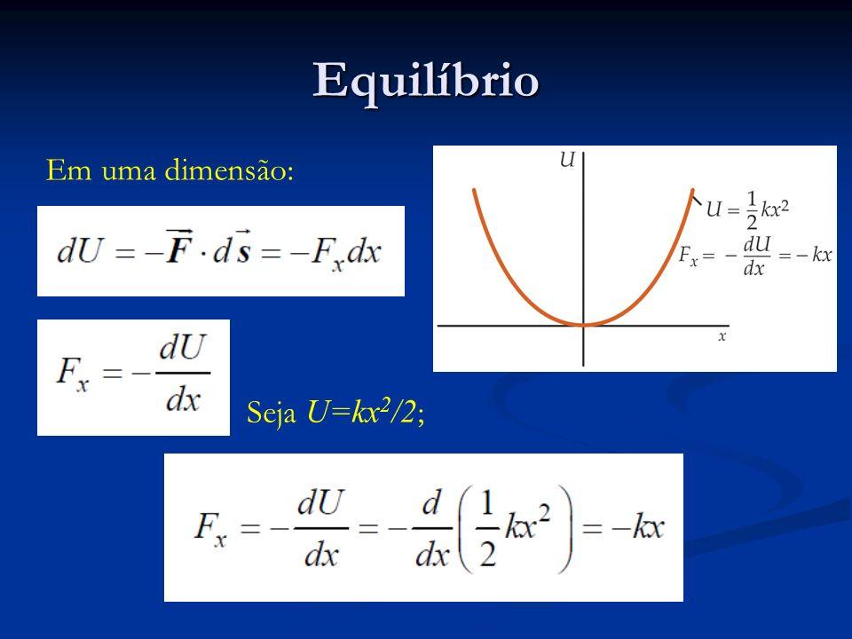 Equilíbrio Em uma dimensão: Seja U=kx2/2;