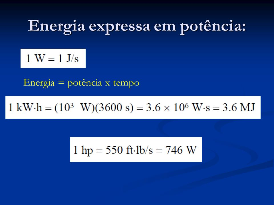 Energia expressa em potência: