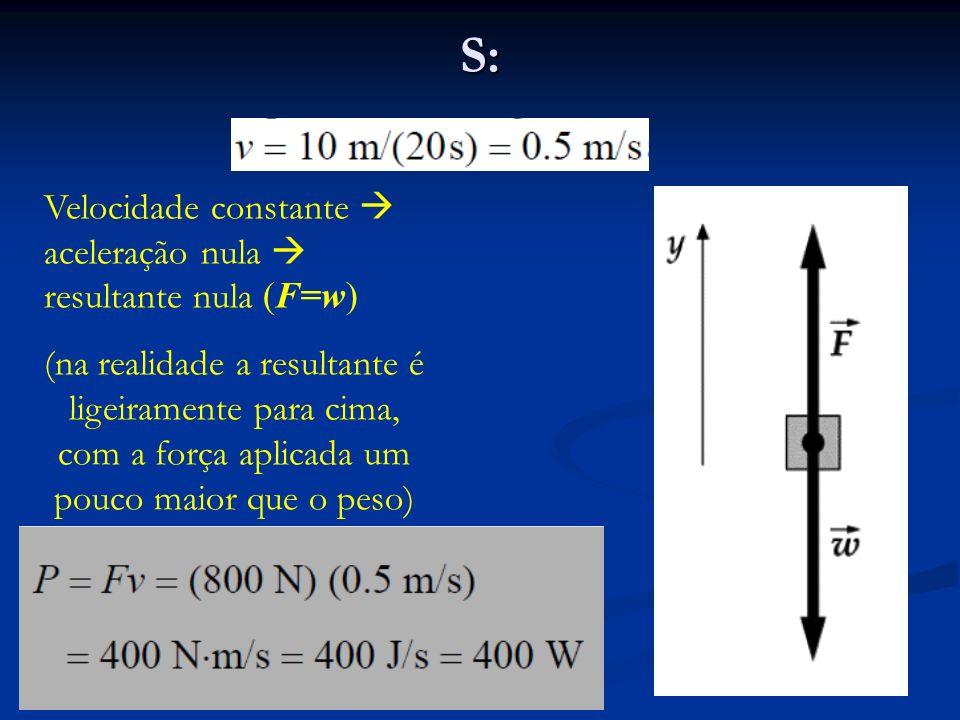 S: Velocidade constante  aceleração nula  resultante nula (F=w)