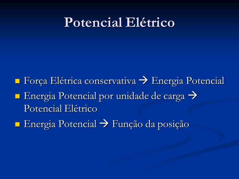 Potencial Elétrico Força Elétrica conservativa  Energia Potencial