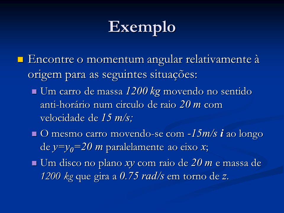 Exemplo Encontre o momentum angular relativamente à origem para as seguintes situações: