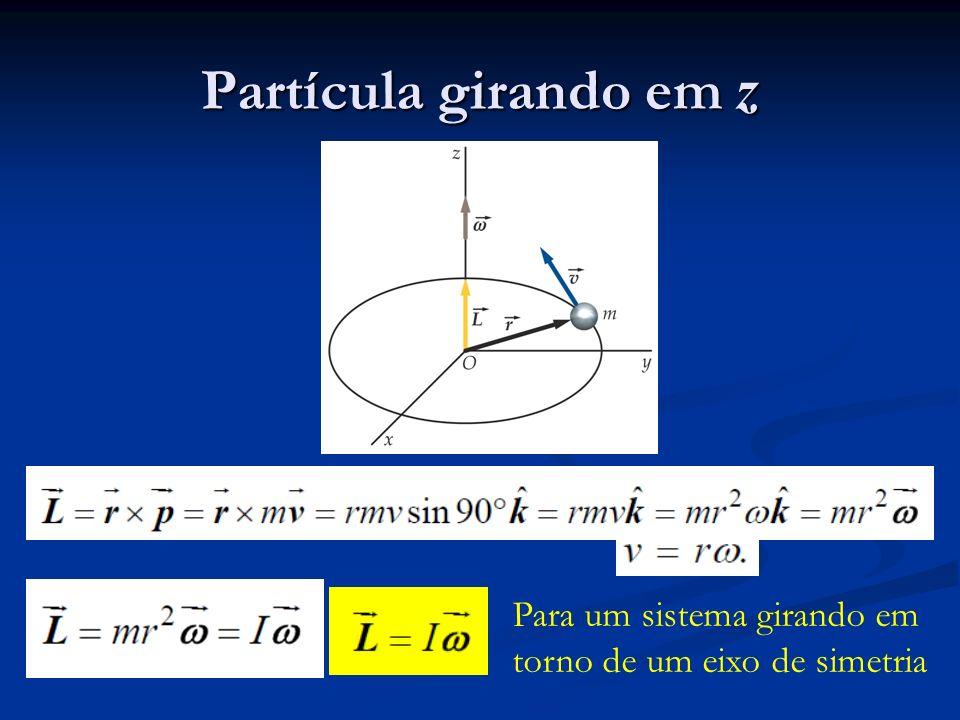 Partícula girando em z Para um sistema girando em torno de um eixo de simetria