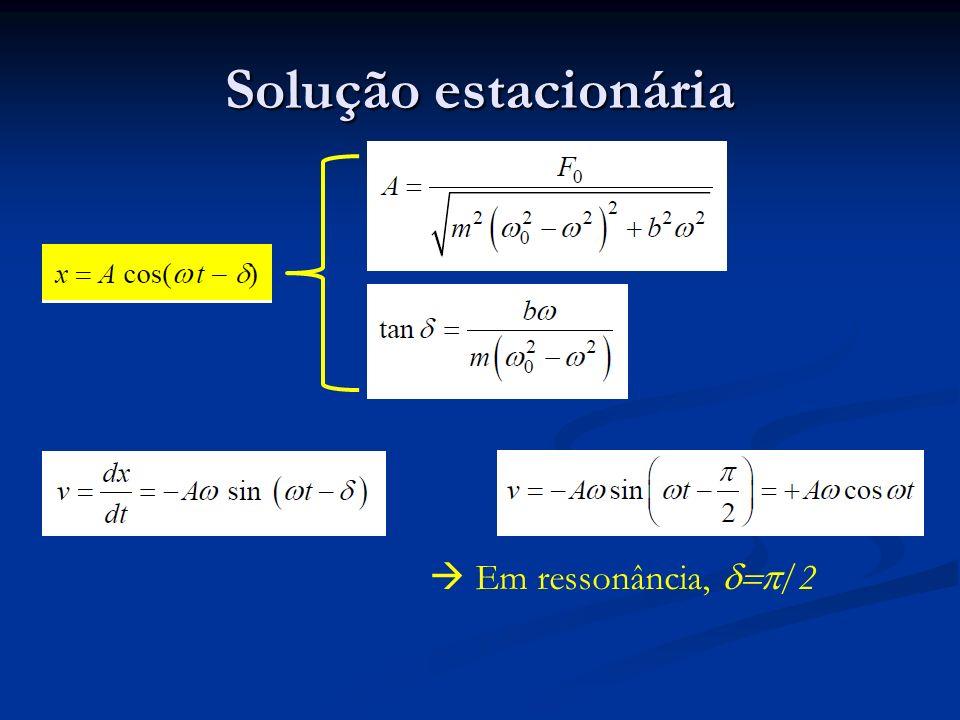 Solução estacionária  Em ressonância, d=p/2