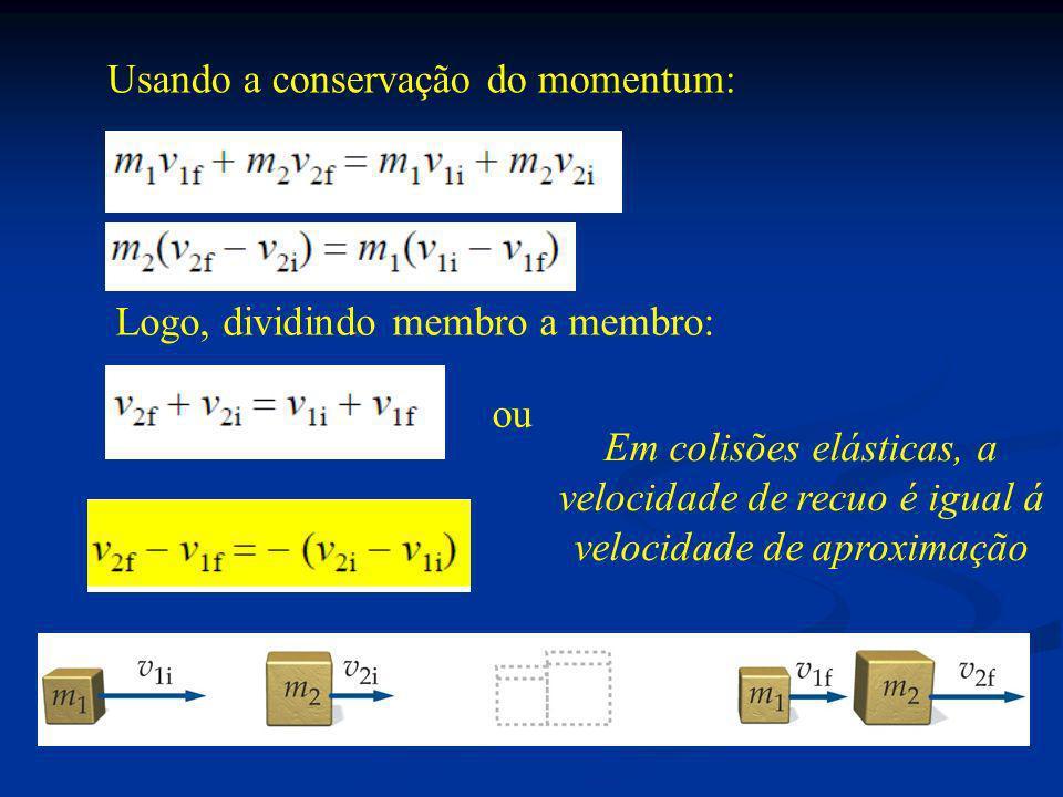 Usando a conservação do momentum:
