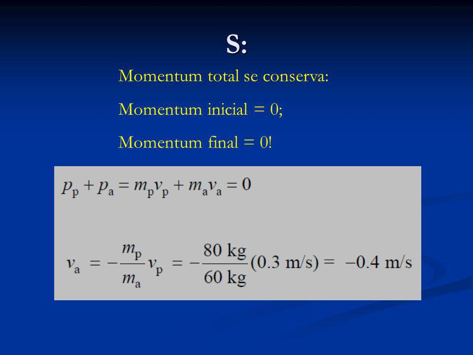 S: Momentum total se conserva: Momentum inicial = 0;