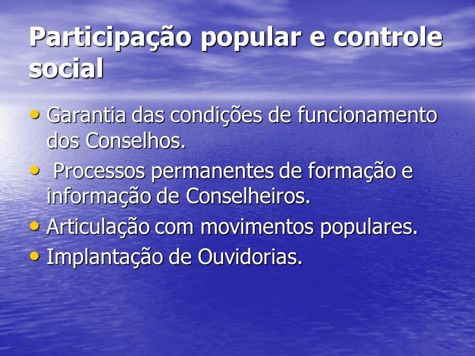 Participação popular e controle social