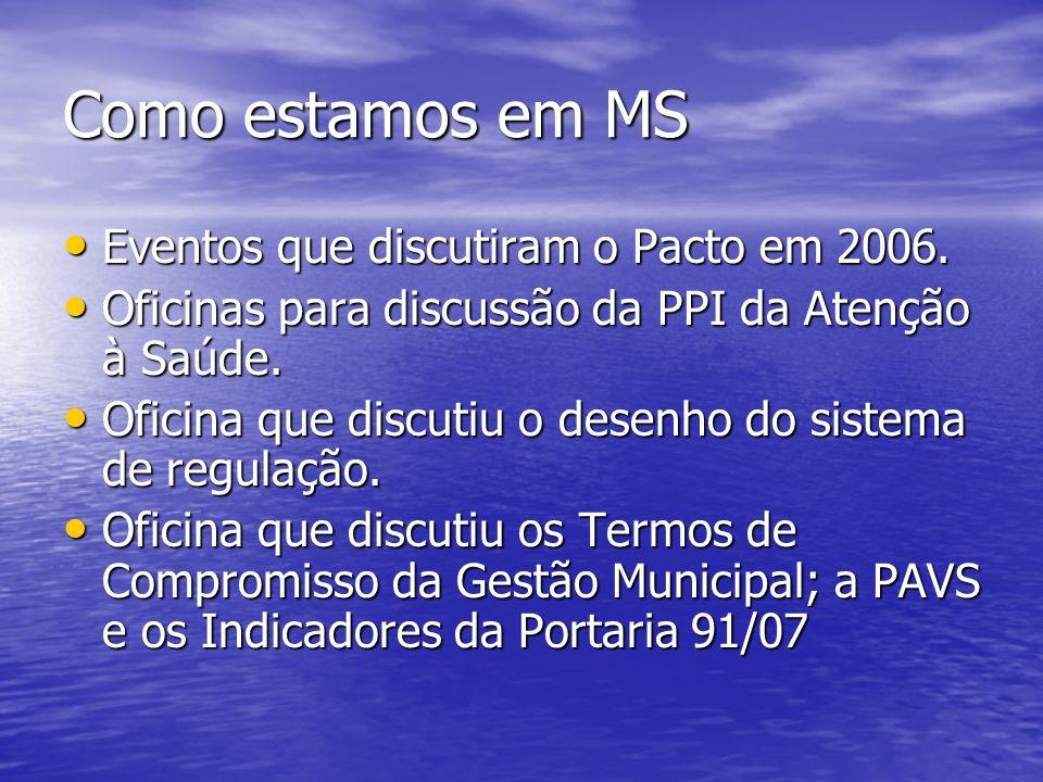 Como estamos em MS Eventos que discutiram o Pacto em 2006.