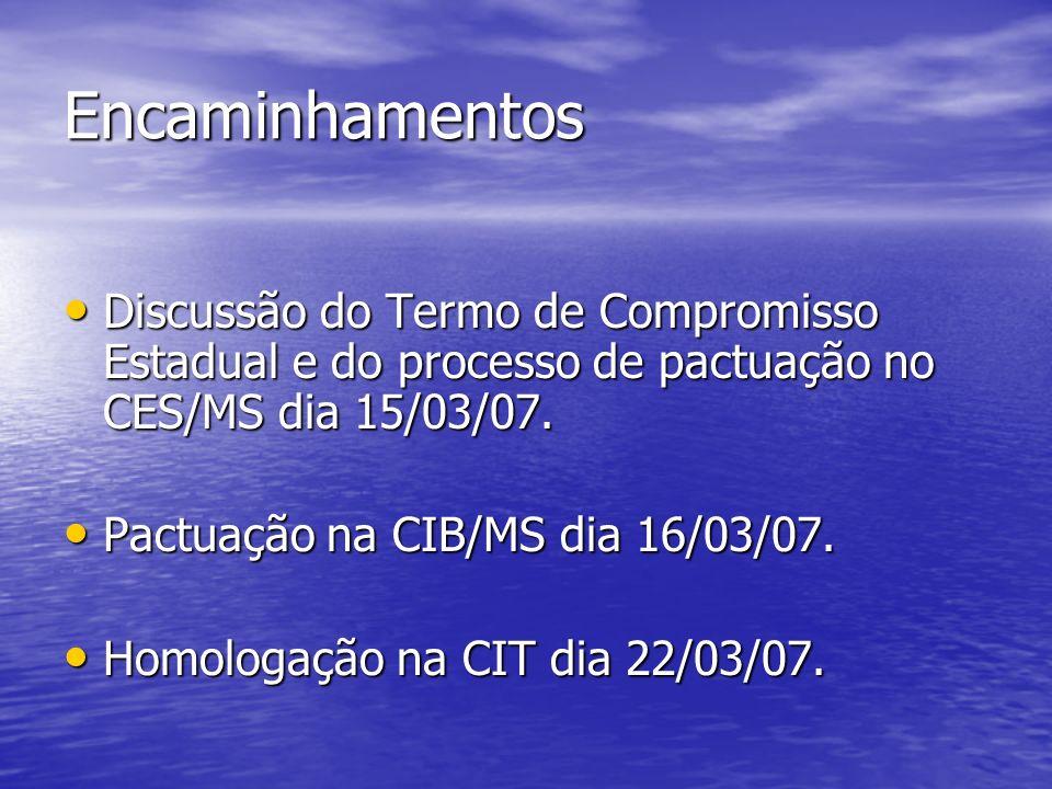 Encaminhamentos Discussão do Termo de Compromisso Estadual e do processo de pactuação no CES/MS dia 15/03/07.