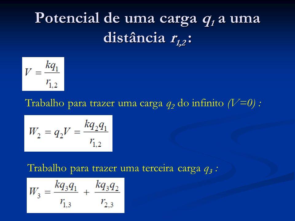 Potencial de uma carga q1 a uma distância r1,2 :