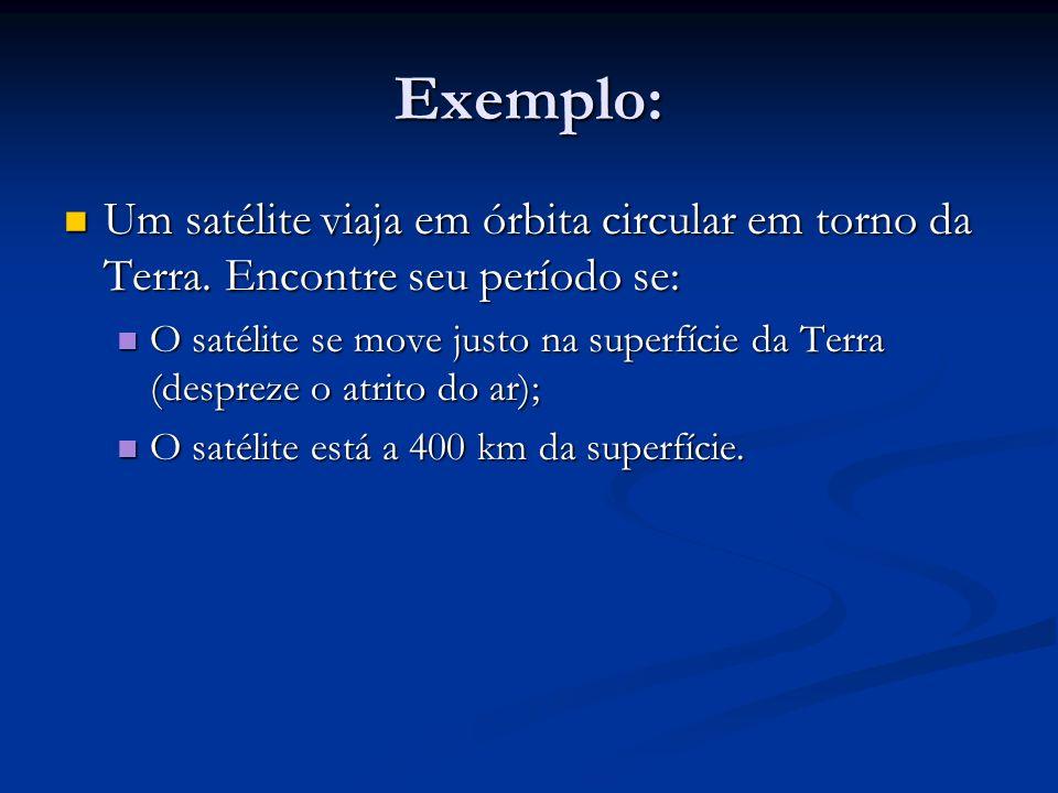 Exemplo: Um satélite viaja em órbita circular em torno da Terra. Encontre seu período se: