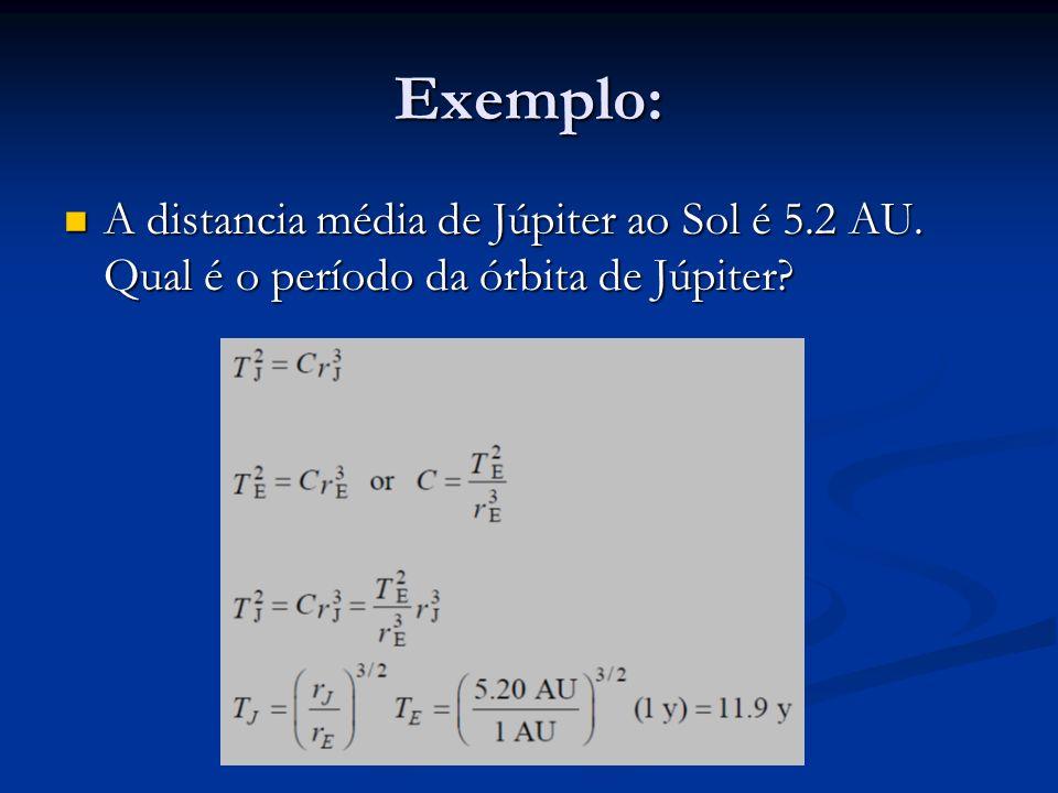 Exemplo: A distancia média de Júpiter ao Sol é 5.2 AU. Qual é o período da órbita de Júpiter