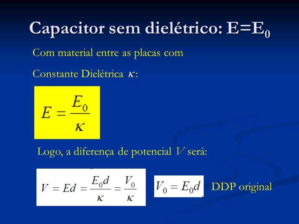 Capacitor sem dielétrico: E=E0