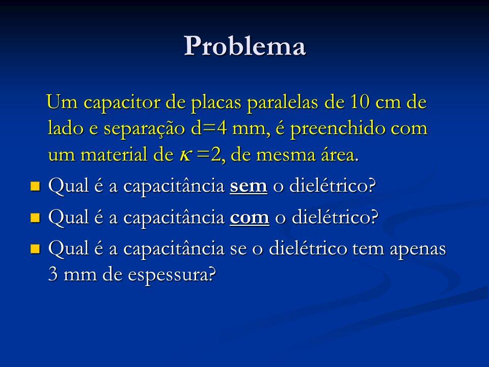Problema Um capacitor de placas paralelas de 10 cm de lado e separação d=4 mm, é preenchido com um material de  =2, de mesma área.