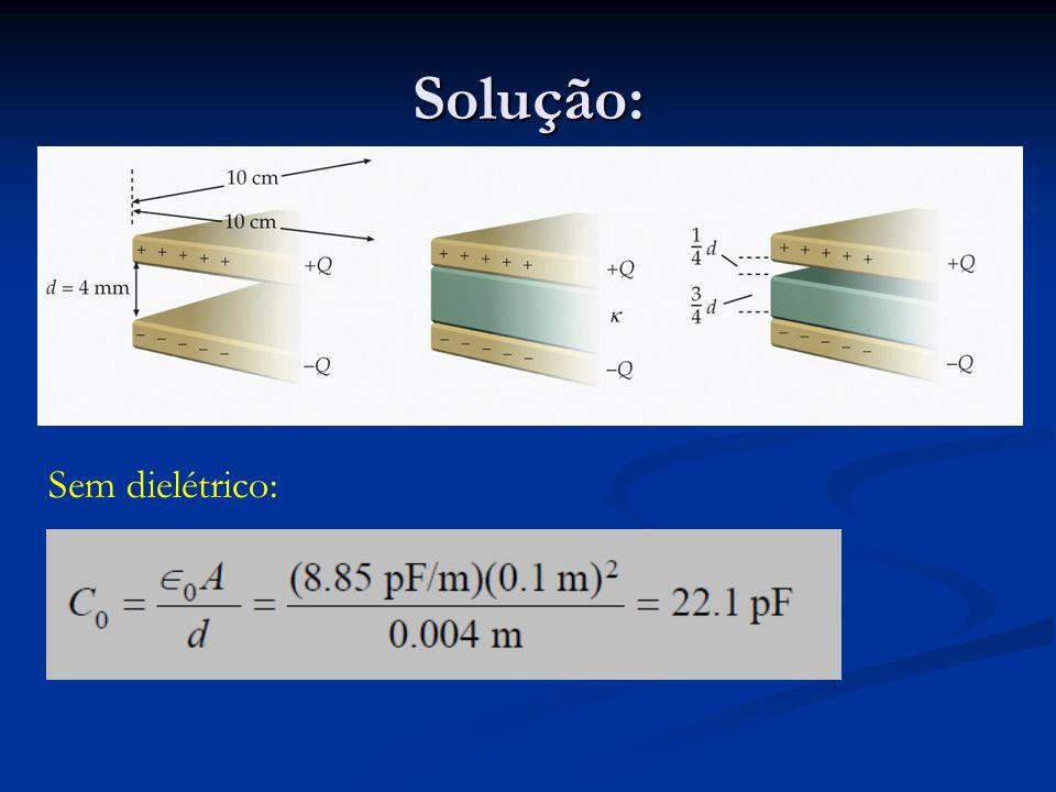 Solução: Sem dielétrico: