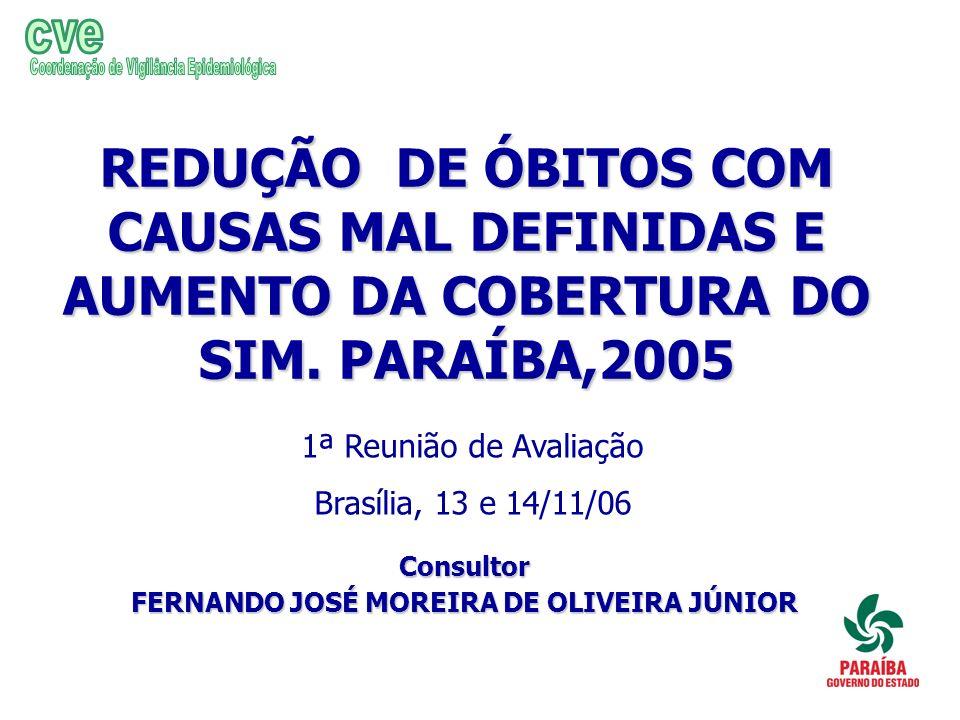 cve Coordenação de Vigilância Epidemiológica. REDUÇÃO DE ÓBITOS COM CAUSAS MAL DEFINIDAS E AUMENTO DA COBERTURA DO SIM. PARAÍBA,2005.