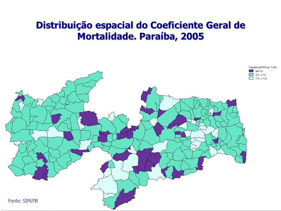 Distribuição espacial do Coeficiente Geral de Mortalidade