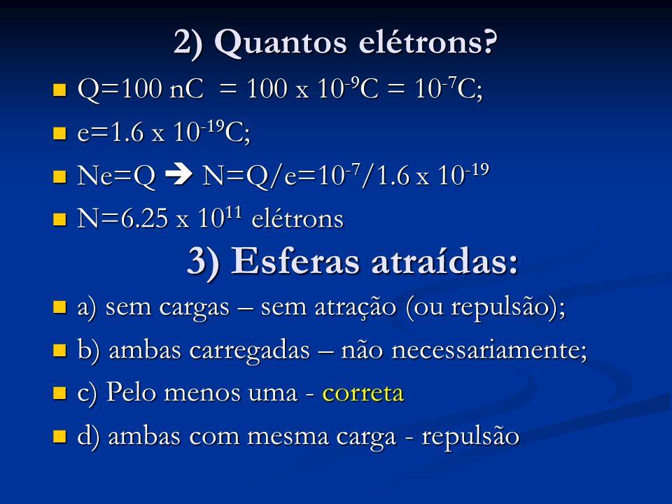 3) Esferas atraídas: 2) Quantos elétrons