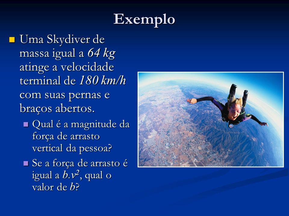 Exemplo Uma Skydiver de massa igual a 64 kg atinge a velocidade terminal de 180 km/h com suas pernas e braços abertos.