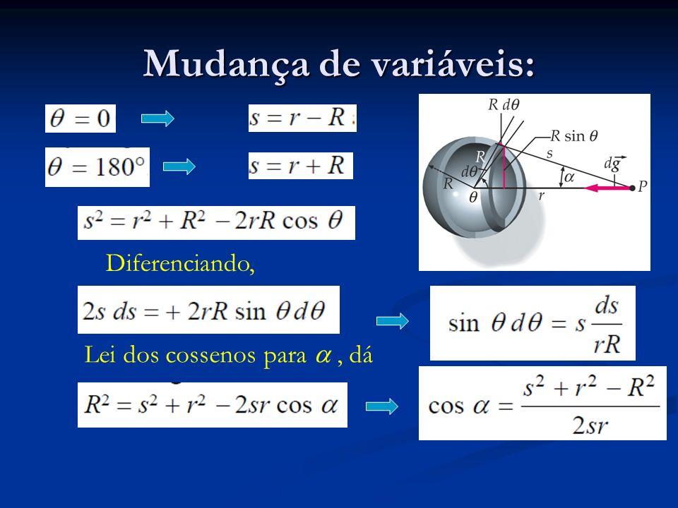 Mudança de variáveis: Diferenciando, Lei dos cossenos para a , dá