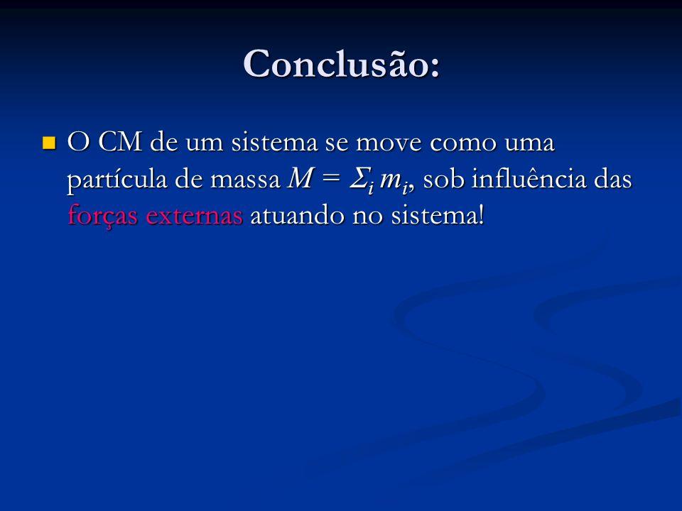 Conclusão: O CM de um sistema se move como uma partícula de massa M = Si mi, sob influência das forças externas atuando no sistema!