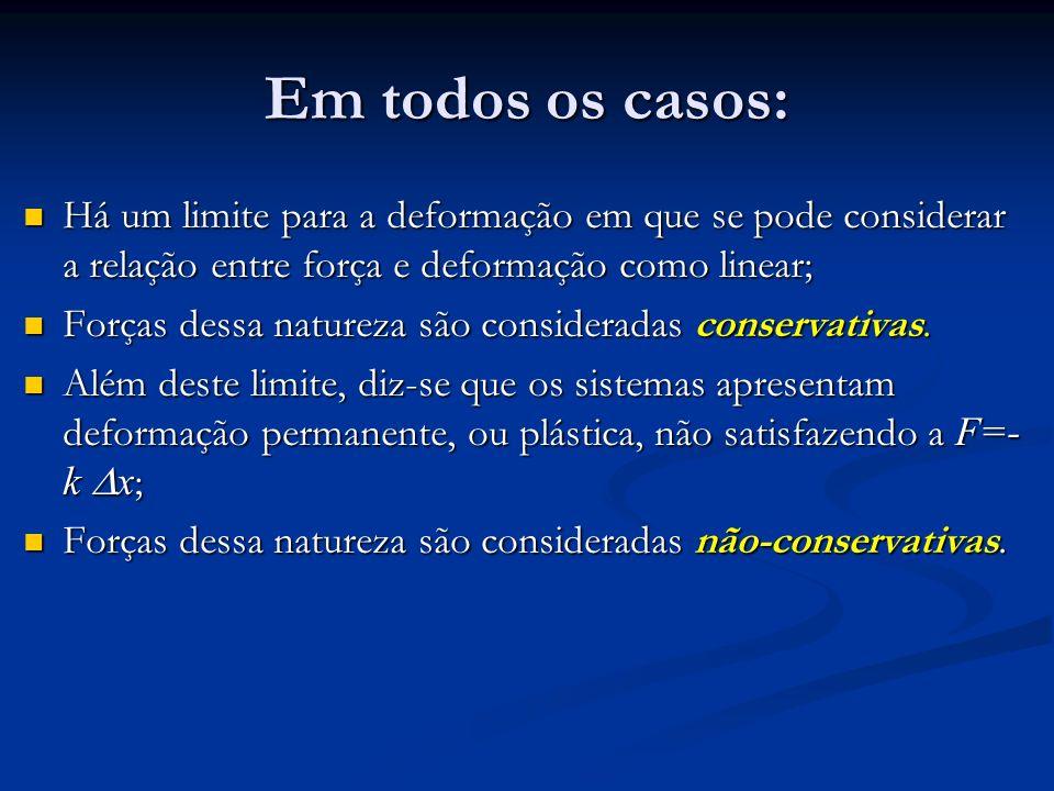 Em todos os casos: Há um limite para a deformação em que se pode considerar a relação entre força e deformação como linear;