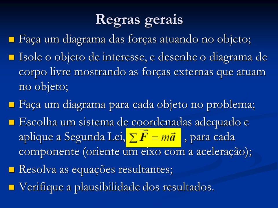 Regras gerais Faça um diagrama das forças atuando no objeto;