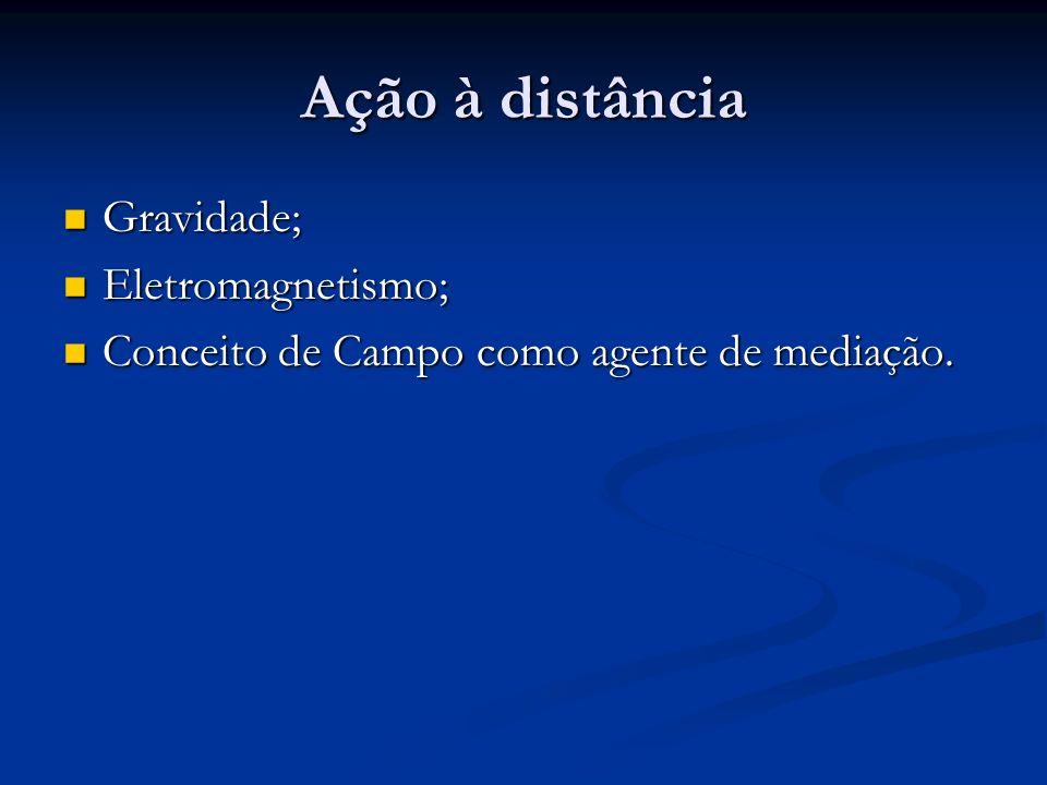Ação à distância Gravidade; Eletromagnetismo;