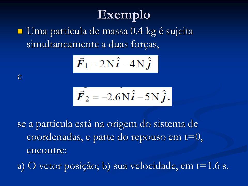 Exemplo Uma partícula de massa 0.4 kg é sujeita simultaneamente a duas forças, e.
