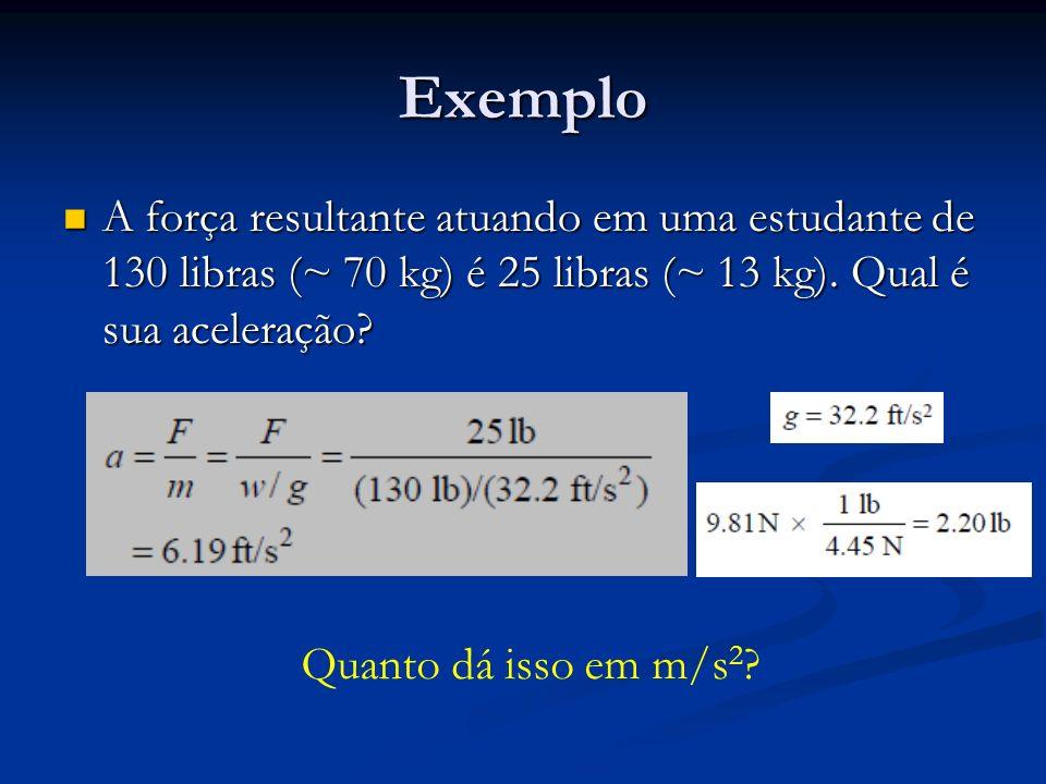 Exemplo A força resultante atuando em uma estudante de 130 libras (~ 70 kg) é 25 libras (~ 13 kg). Qual é sua aceleração